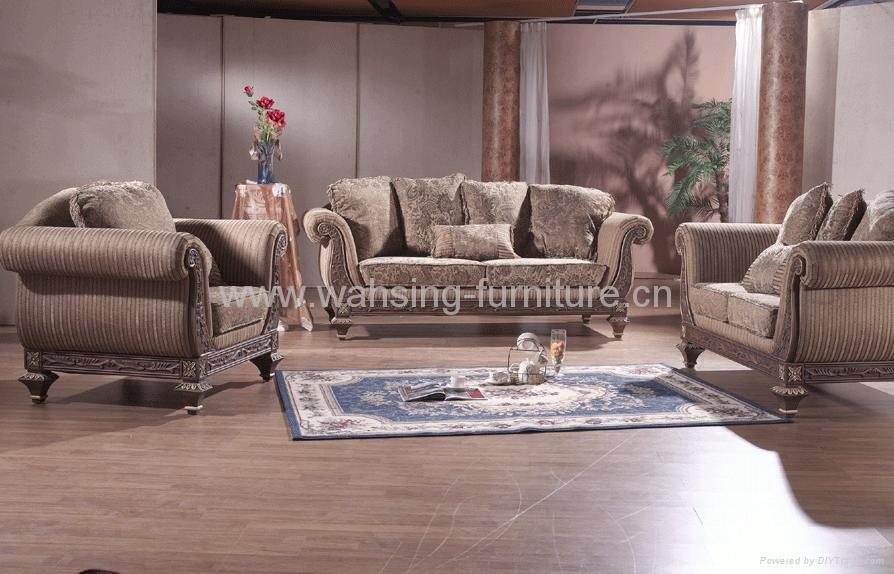 Antique Royal Solid Wood Furniture Leather Fabric Sofa Set Living Room Furniture B231 2 5 6 8