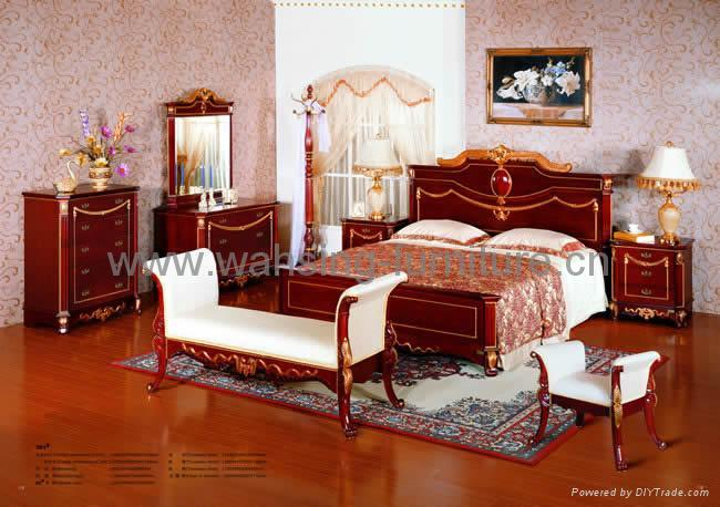 Antique royal solid wood furniture bedroom set bed dresser - Real wood bedroom furniture sets ...
