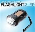 Solar & Dynamo 3 LED Flashlight / Hand Cranking Torch