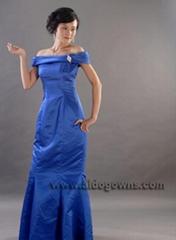长款蓝色晚礼服
