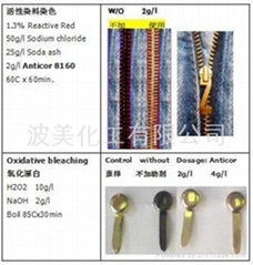 Anticor 8160 corrosion inhibitor prevent rusting metal buttons and zipper