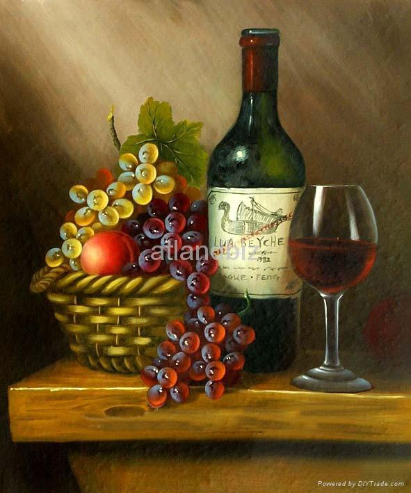 Still Life Oil Painting, Bottle, musical instrument, fruits 1