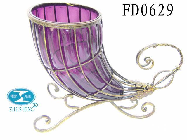 Metal glass craft vase table decor fd0629 zhisheng for Metal art craft supplies