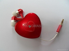 Heart-shape Retractable Earphone