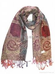 时尚璀璨夺目女士羊毛真丝围巾