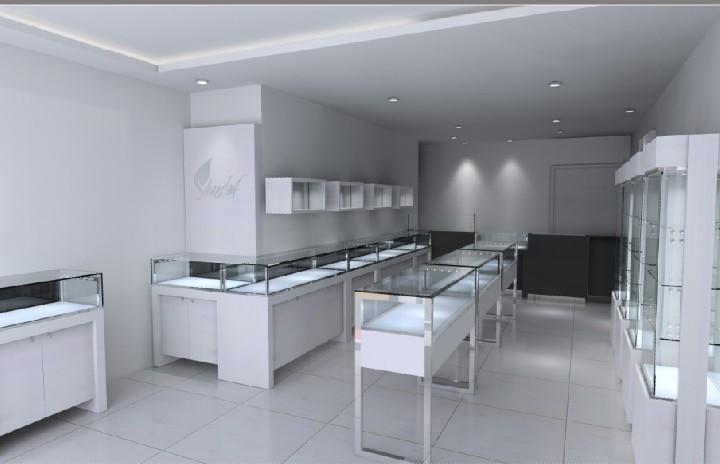 Glossy White Wooden Jewelry Store Display Showcases Design With Led Lightings Unit520
