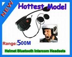 Bluetooth Motorcycle Helmet Headsets Intercom Speaker, 500m Intercom Headset