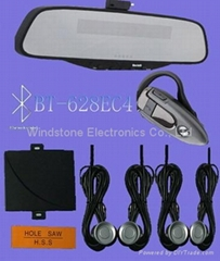 Hottest Car Bluetooth Handsfree Car Kit with wireless FM earpiece and 4 -sensors