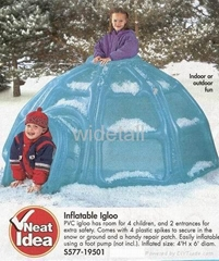 inflatable igloo and boxing glove and headpiece and jumpping bed and airship