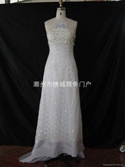 晚裝婚紗禮服,電腦繡花,手搖繡花加工