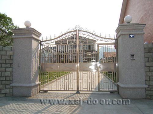 不锈钢门; 农村小院大门效果图; 不锈钢围墙大门图片欣赏下载