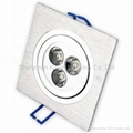 3*1W square led downlight