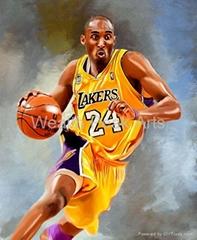 NBA明星科比.布萊恩油畫