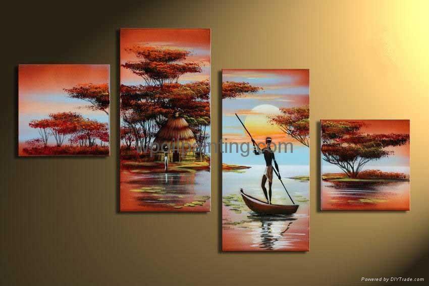 四拼风景 办公室挂画 手绘组合; 客厅装饰画 手绘油画 墙画非洲风景