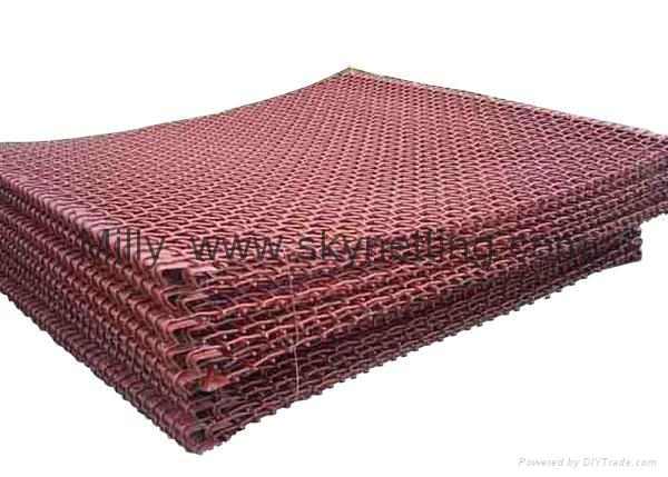 Medium Carbon 65Mn Steel Mesh with hook on end  FLAT TOP Screen Mesh factory 3