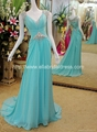 2013 luxury Diomond and Silver Beading Blue Chiffon Evening Dress With Train
