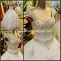 2013 New Sweetheart Luxury Heavy Beading Bridal Gowns With Cap Sleeves