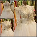 Wholesale Ball Gown High Neck Lace Crystal Heavy Beads Wedding Dress Bridal Gown