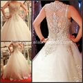 Wholesale Ball Gown Straps Heavy Hand Beads Luxury Wedding Dress Bridal Gown