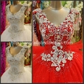 New Arrival Ball Gown Straps V-neck Heavy Beads Tulle Satin Wedding Dress