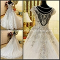 2013 New Arrival Luxury Straps Heavy Crystal Beading Lace Satin Wedding Dress