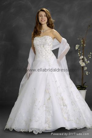 top sellers strapless beaded embroidery organza over satin wedding dresses