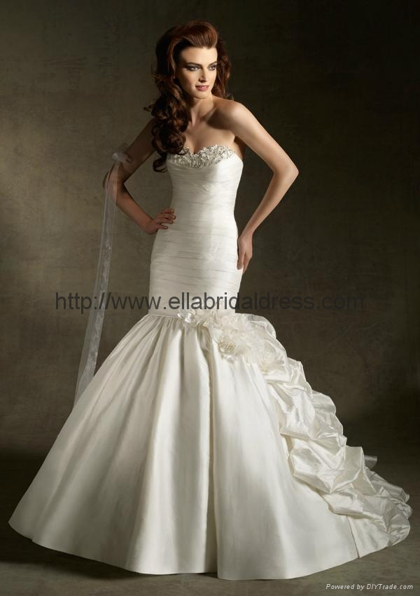 2012 new style strapless mermaid satin wedding gowns