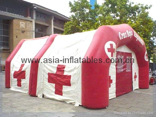 Inflatable tent for outdoor rescue/ natural disaster