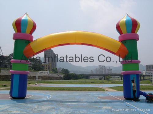 inflatable archway with balloon pillar for exhibition / business entrance