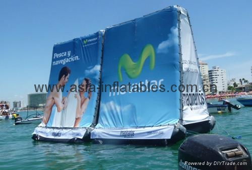 Air sealed billboard floating on water for outdoor advertising