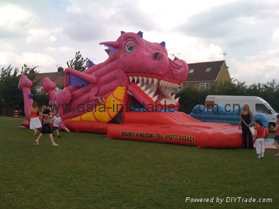 2014 hot sale snappy dragon inflatable slide for outdoor games