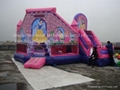 Inflatable pink princess bouncer with slide / combo for children bouncing games