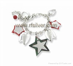 925 sterling si  er bracelet with coral and pearl