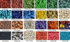 UV-stable EPDM rubber granule with RAL code colors