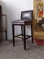 高腳低背軟座木椅 1