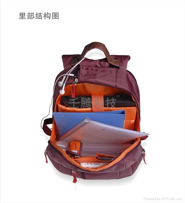 TPOS 情侣笔记本双肩背包(紫霞红) 4