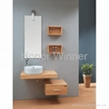 HW-P2677 Bathroom Solid Wooden Cabinet With Ceramic Basin