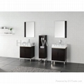 HW-P2857 Bathroom Solid Wooden Cabinet With Double Ceramic Basin