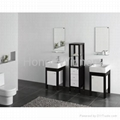 HW-P2858 Bathroom Solid Wooden Cabinet With Double Ceramic Basin