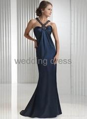Hot sale special design beaded neckline evening dress