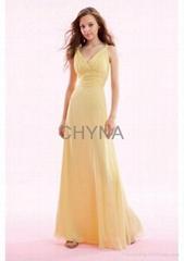 V-neckline lady evening dress gown