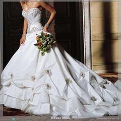 Bridal Wedding Dress With Beautiful Flower Pattern