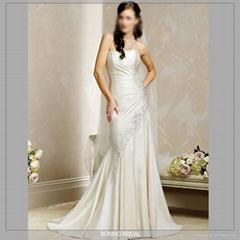 High quality satin applique bridal Wedding Dress