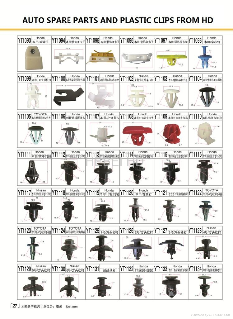 Car Body Clips Automotive Plastic Fasteners 39259000