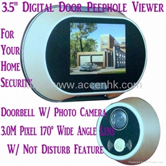"3.5"" LCD Screen Home Security Digital Door Peephole Viewer Doorbell Photo Camera"