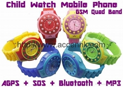 C5 Wrist Watch Mobile Phone Child Kids Safety W/ Position Track + Remote Monitor