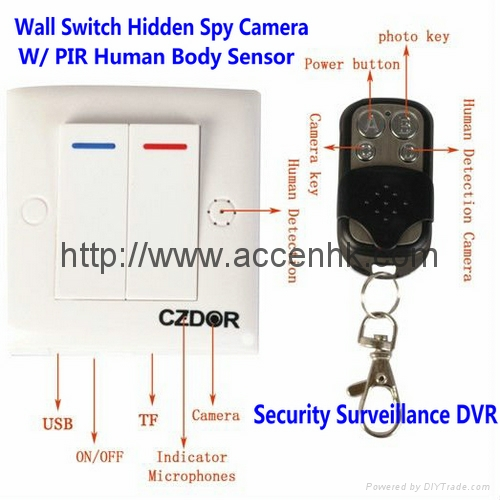 Wall Switch Hidden Camera Surveillance DVR W/ PIR Sensor & 2.4G Remote Control