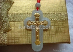 24K yellow gold & green jade Holy Cross Pendants necklace
