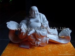 Porcelain Happy Buddha Figurine Sitting On Ru Yi