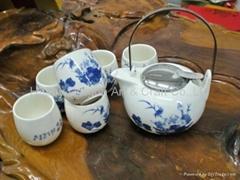 Porcelain Blue and white Japanese style tea set